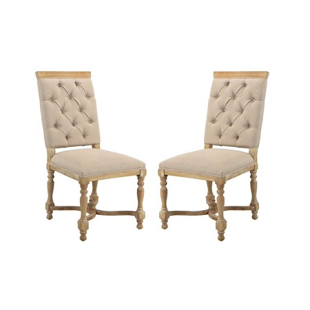 Classic 2 Piece Set Tufted Fabric Dining Room Chairs (Antic/Beige) ()