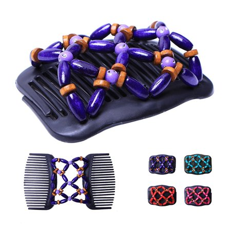 Retro Wooden Beads Hair Comb Double Row Hairpin Insert Women Hairstyle Clip - image 2 of 7