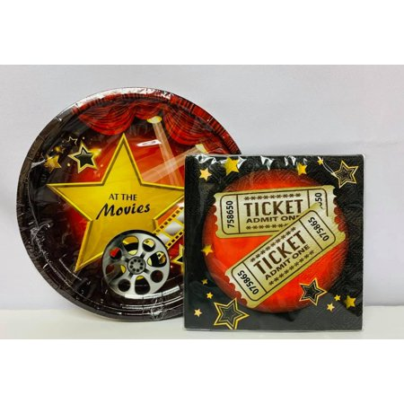 Hollywood Movie Package Birthday Party Supplies - Small Plates and Small Napkins
