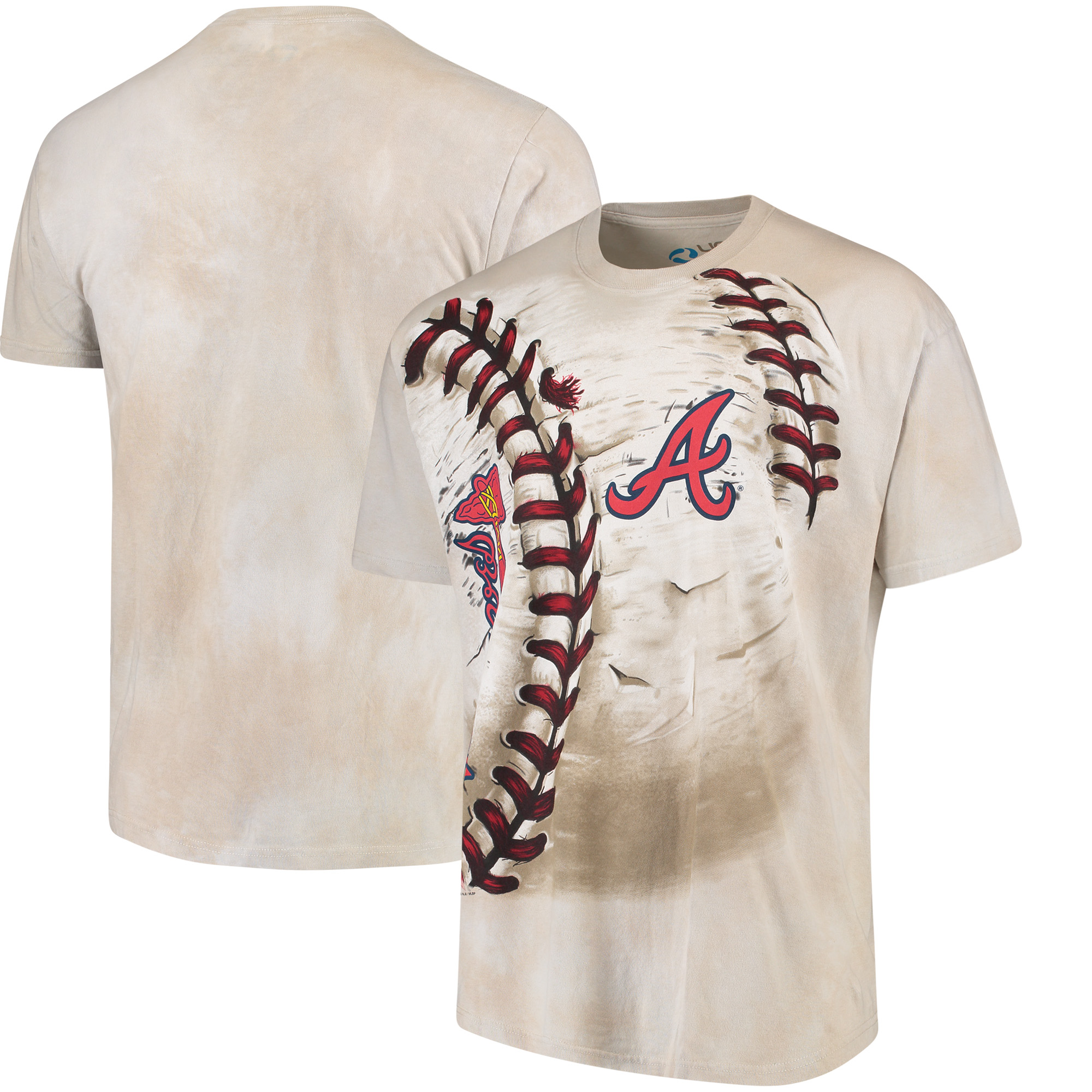 Atlanta Braves Hardball Tie-Dye T-Shirt - Cream