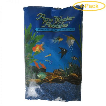 Pure Water Pebbles Aquarium Gravel - Marine Blue 25 lbs (3.1-6.3 mm Grain) - Pack of 4