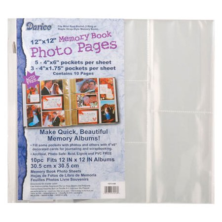 Darice Scrapbook Refill Page Protectors 12X12 5Pk (White Scrapbook Refill)