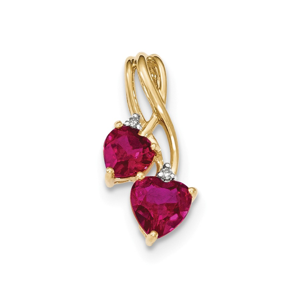 14k Yellow Gold LabCreated Ruby and Diamond Double Heart Pendant