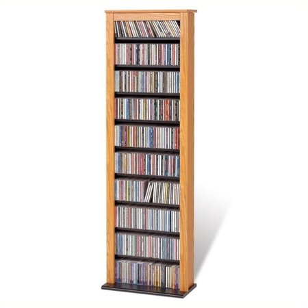 Hawthorne Collections 64  Single Media Storage Rack In Oak And Black