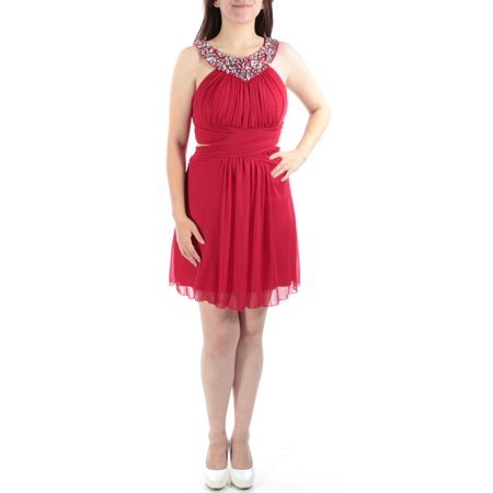 - B DARLIN Womens Red Sequined, Beaded CUT OUT SIDES Sleeveless Jewel Neck Above The Knee Sheath Party Dress  Size: 1