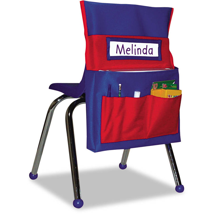 "Carson-Dellosa Publishing Chairback Buddy Pocket Chart, 12"" x 22-1/2"", Blue/Red"