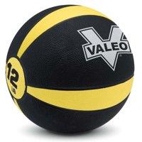Valeo 12-Pound Medicine Ball With Sturdy Rubber Construction And Textured Finish, Weight Ball Includes Exercise Chart For Strength Training, Plyometric Training, Balance Training And Muscle Build
