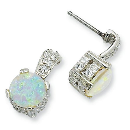 Cheryl M Sterling Silver 8mm Lab created Opal Cabochon & CZ Post Earrings QCM377 - image 2 de 2