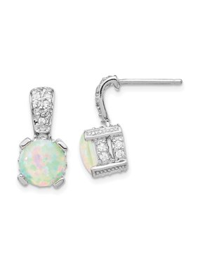Sterling Silver 8mm Syn Opal Cabochon CZ Post Earrings