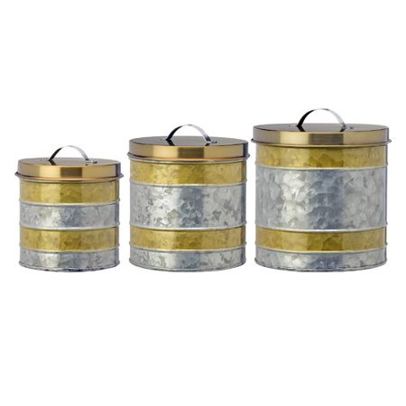Williston Forge Galvanized Kitchen Canister Set (Set of 3)