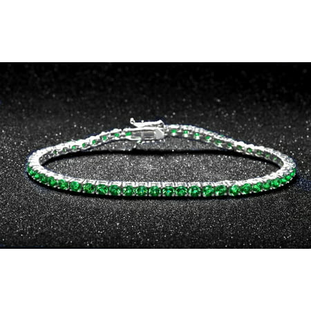 Emerald Round Cut Tennis Bracelet in 18k White Gold