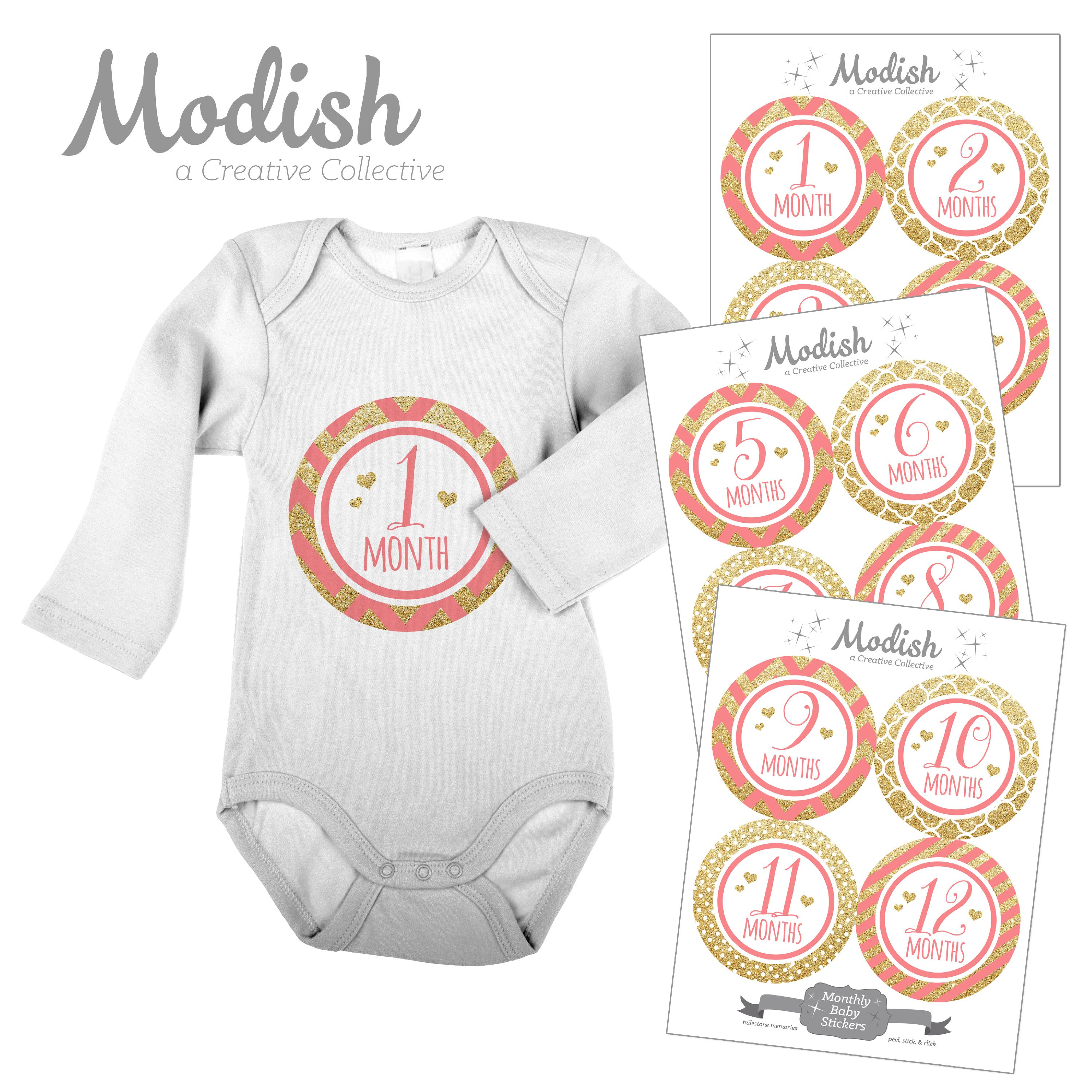 Modish Monthly Baby Stickers, Girl, Coral, Pink, Gold, Chevron, Stripes, Baby Photo Prop, Baby Shower Gift, Baby Book Keepsake
