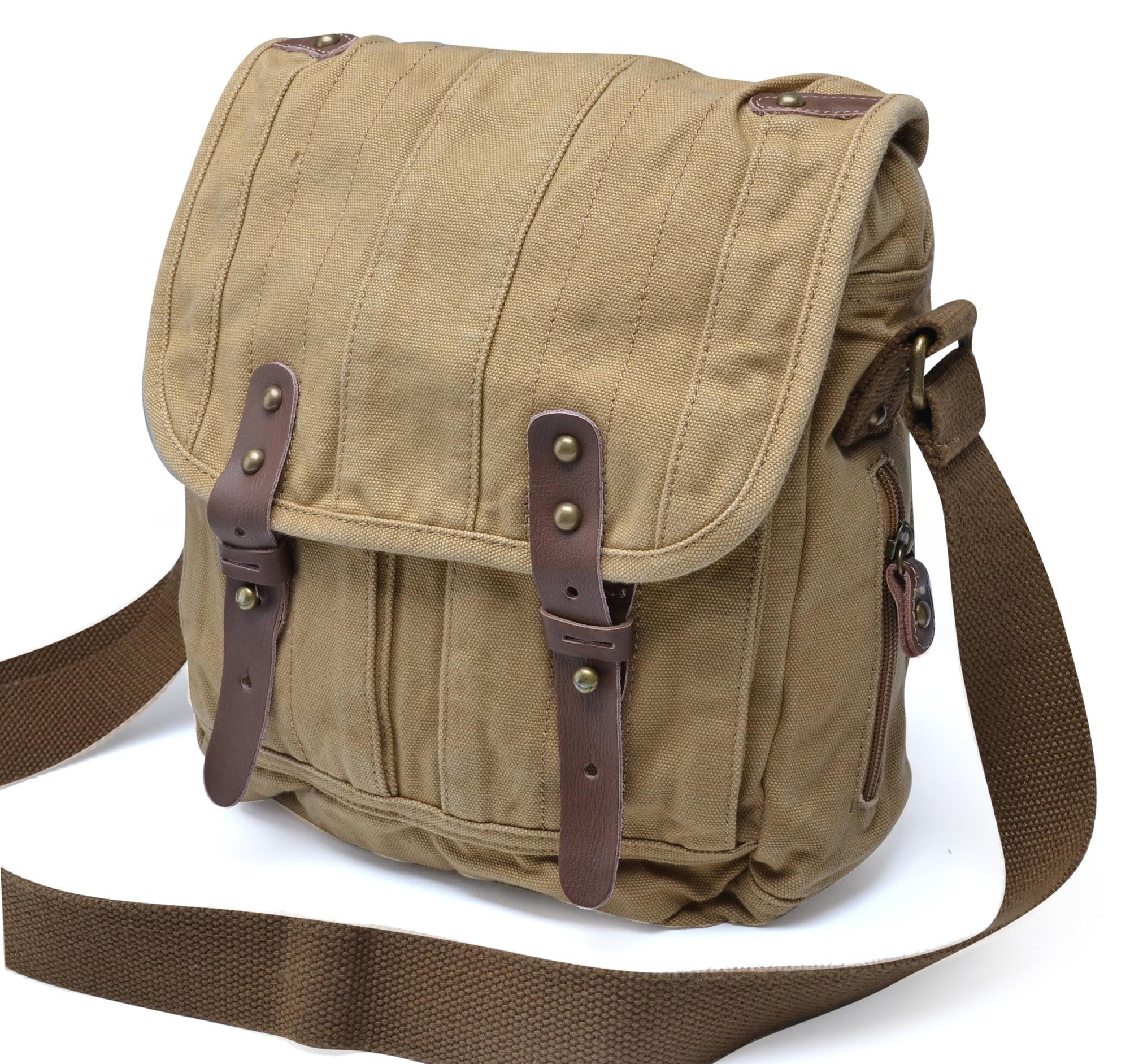 Gootium Vintage Canvas Messenger Bag Men S Cross Body Shoulder Khaki