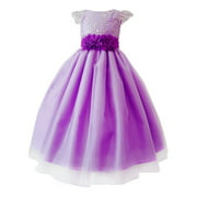 Girls Purple Glitter Embroidered Floral Belt Junior Bridesmaid Dress