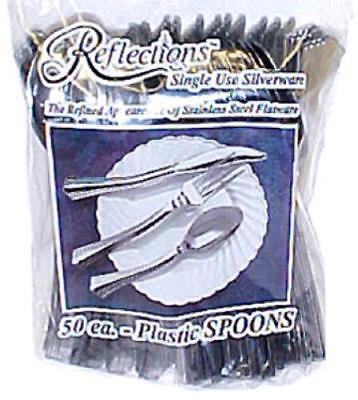 Reflections Silver Heavy Duty Plastic Spoons Single Use Only One