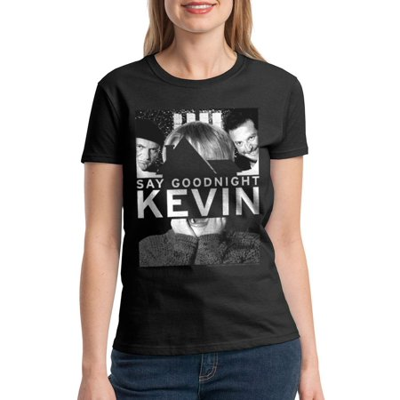 b18fbf588a Home Alone Say Goodnight Kevin Quote Women s Black T-shirt NEW Sizes S-2XL