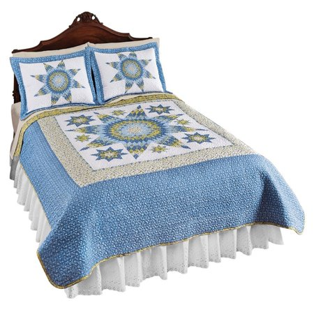 Missouri Star Floral Chevron Reversible Lightweight Quilt  Blue  Full Queen  Quilt Features A Chevron Style Pattern Surrounded By Smaller Stars And Multiple    By Collections Etc