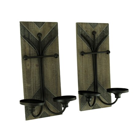 Rustic Wood and Metal Double Candle Wall Sconce Set of 2