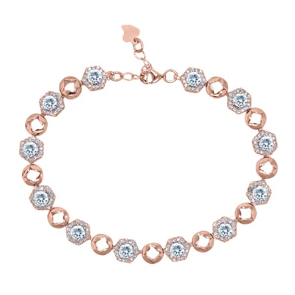 5.45 Ct Round Sky Blue Aquamarine 18K Rose Gold Plated Silver Bracelet by