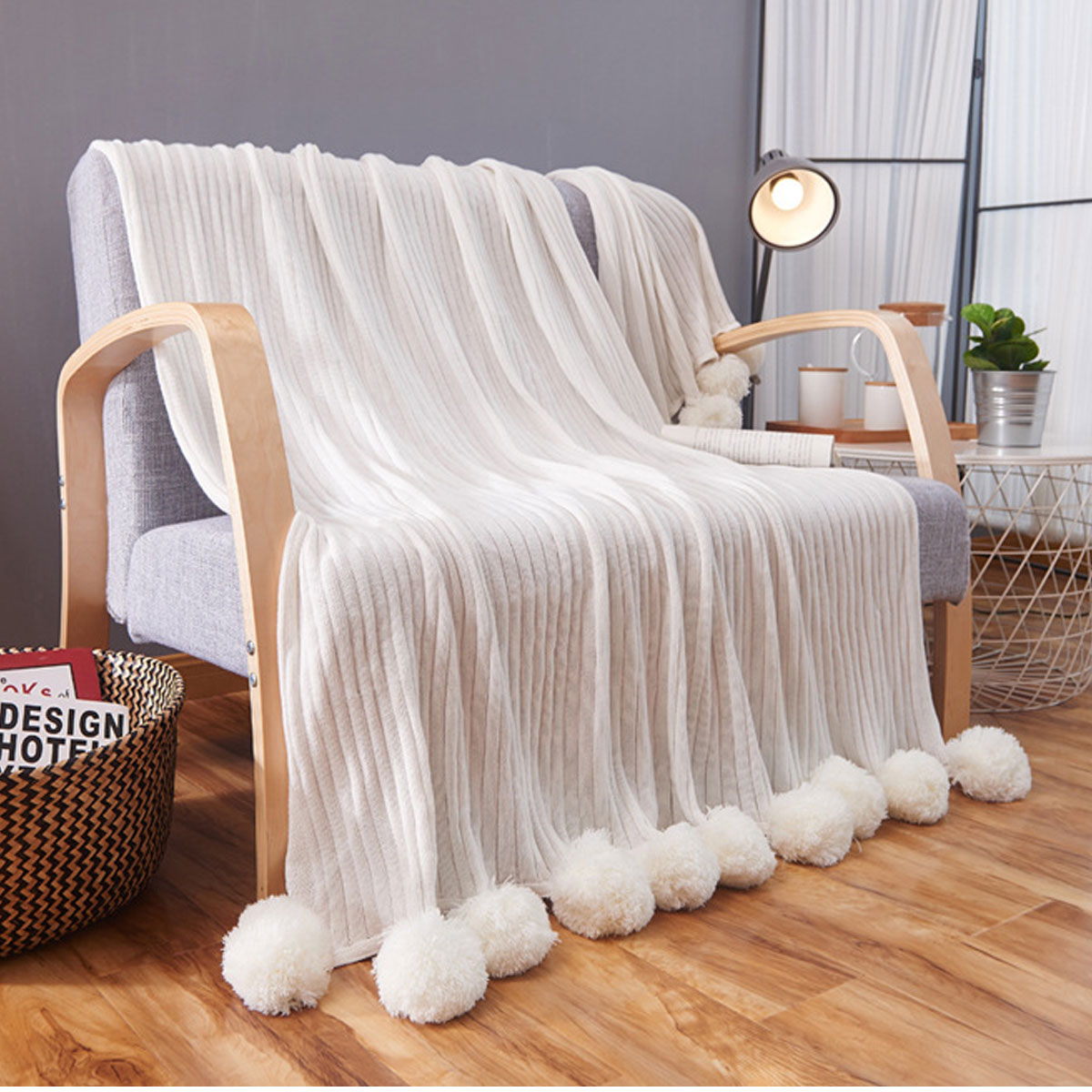 100x105cm Soft Reversible Pom Pom Cotton Knit Blanket Bed Sofa Knitted Rug Throw 39''x41''