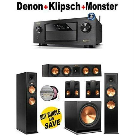 Denon-AVRX4200W + 2 Klipsch-RP260FBK + Klipsch-RP440CBK + 2 Klipsch-RP250SBK + Klipsch-R112SW + Monster... by