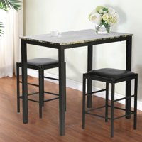 Product Image Dining Kitchen Table Set Marble Rectangular Breakfast Wood Room And Chair