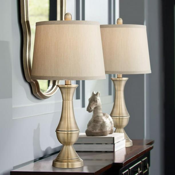 Regency Hill Traditional Table Lamps Set Of 2 Antique Brass Metal Beige Drum Shade For Living Room Family Bedroom Bedside Office Walmart Com Walmart Com