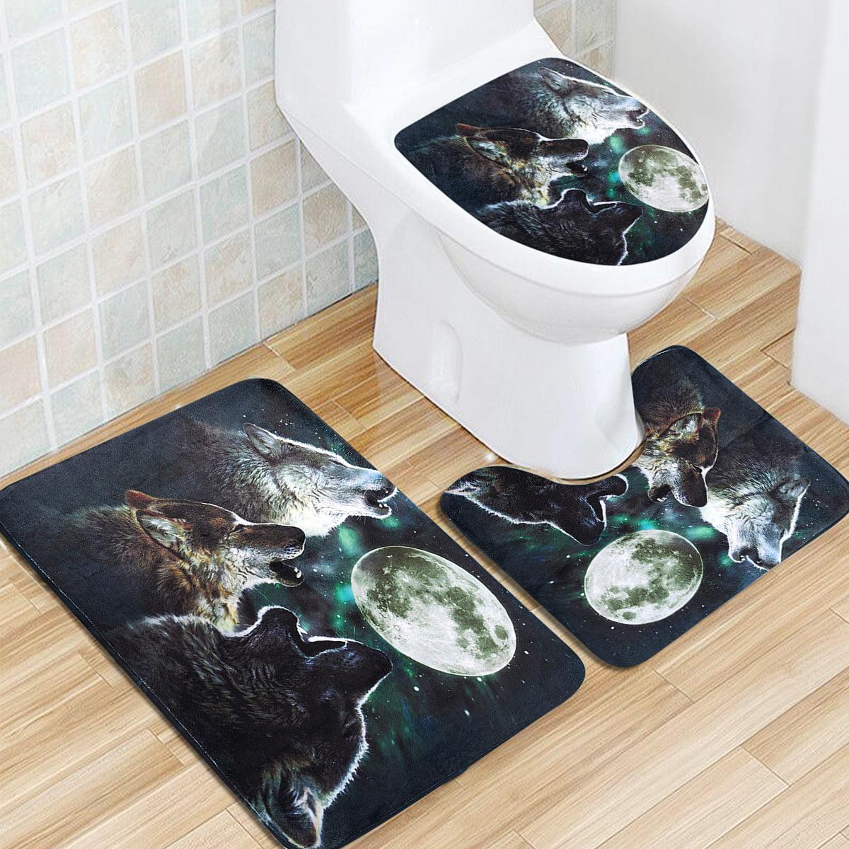 Moon Wolf Shower Curtain Bath Mat Toilet Cover Rug Bathroom Decor Set