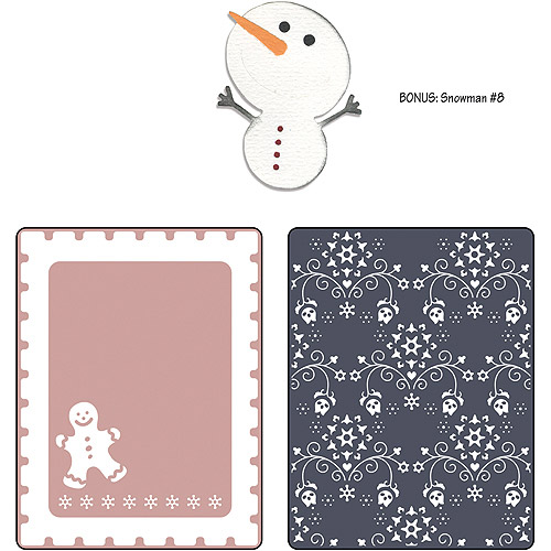 Sizzix Textured Impressions/Bonus Sizzlits By Basic Grey, Nordic Holiday Gingerbread Man, Flowers