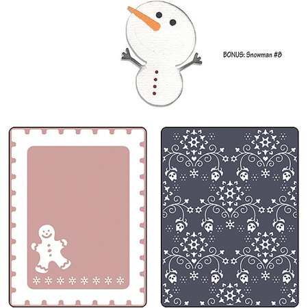 Sizzix Basic Grey Gingerbread Man And Nordic Flowers Set Embossed Folders And Sizzlits - Sizzix Sizzlits Alphabet