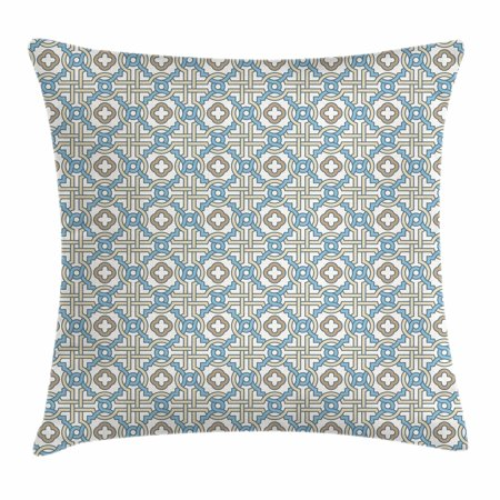 Quatrefoil Throw Pillow Cushion Cover, Circular and Floral Shapes with Intricate Design Traditional Moroccan Star, Decorative Square Accent Pillow Case, 18 X 18 Inches, Tan Beige Blue, by Ambesonne