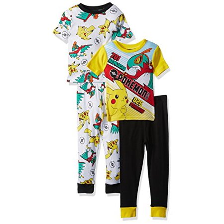 Pokemon Boys' Little Boys' Pikachu 4-Piece Cotton Pajama Set, Yellow/Black, 4 (Pikachu Girl Or Boy)