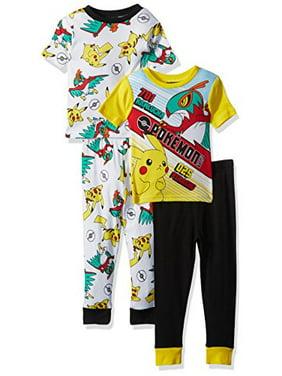 Pokemon Boys' Little Boys' Pikachu 4-Piece Cotton Pajama Set, Yellow/Black, 4
