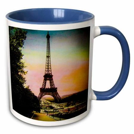 1910 Postage - 3dRose Vintage Hand Colored Magic Lantern Eiffel Tower Trocadero Paris 1910 - Two Tone Blue Mug, 11-ounce