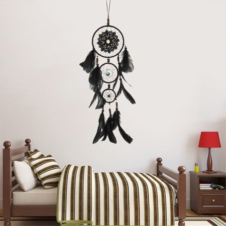 Handmade Dream Catcher Black with Feather Wall Hanging Decoration Ornament Gift