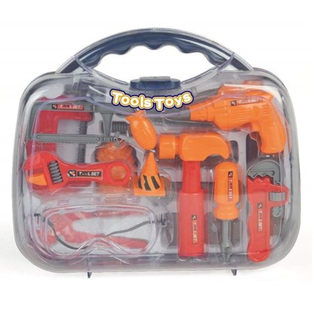 - Kids Tool Set Construction Toys Toolbox - 18 Pretend Play Accessories with Sturdy Case