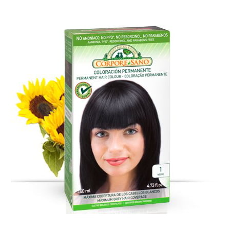 Corpore Sano Permanent Hair Color (Does Not Contain: PPD. AMMONIA, RESORCINOL, PARABENS) 1-Black