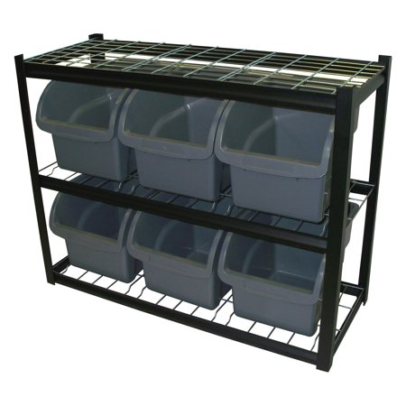 Edsal 6 Jumbo Bin Black Shelving Unit (Shelving Bin Unit)