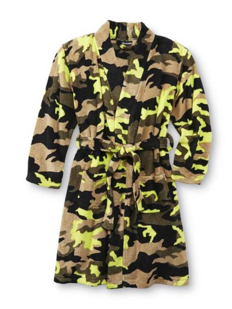 Joe Boxer Boys Plush Green & Brown Camouflage Fleece Bath Robe House Coat  - Size - X-Small