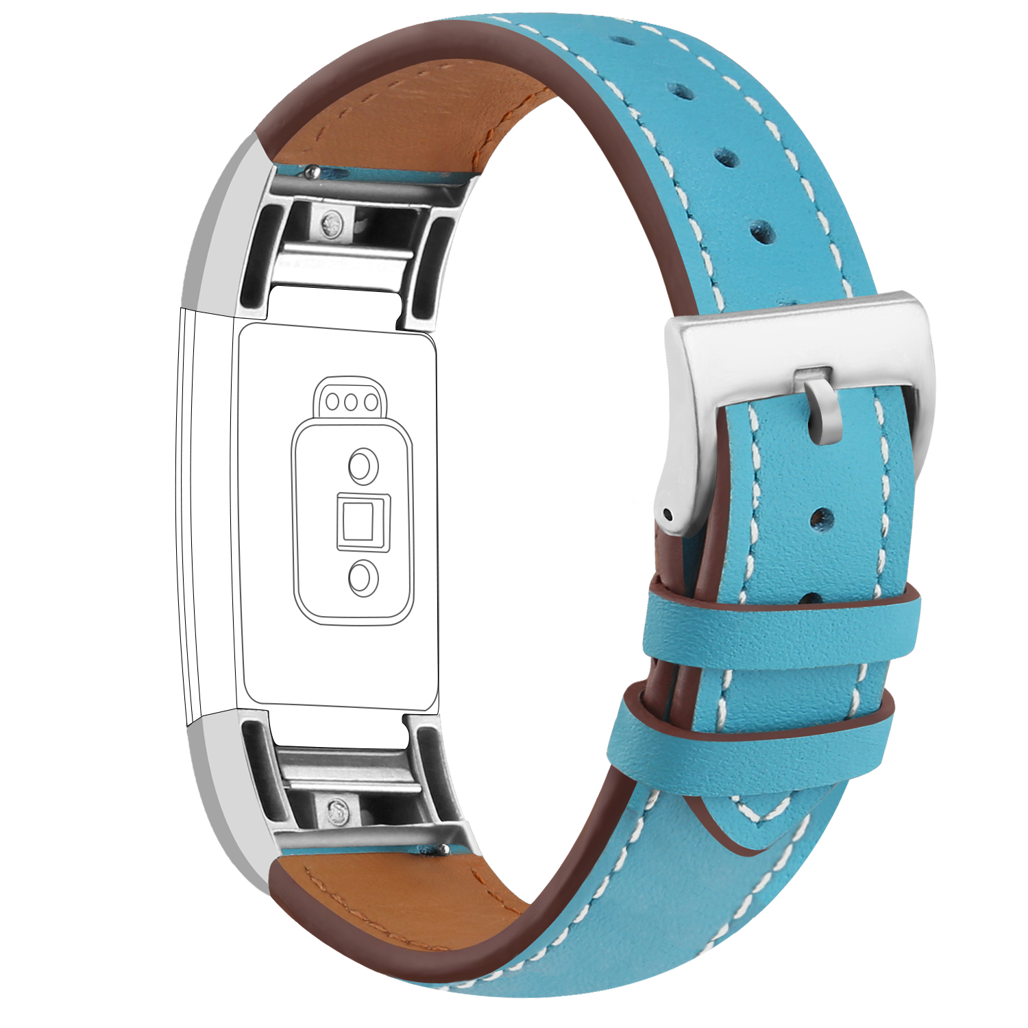 iGK For Fitbit Charge 2 Bands Genuine Leather Replacement Wrist Bands Metal Connectors for Fitbit Charge 2 (Blue)