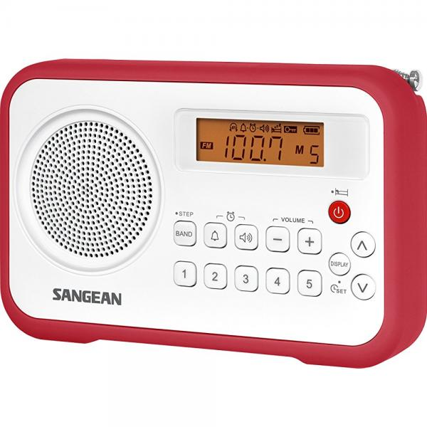 Sangean AM FM Clock Portable Digital Radio with Protective Bumper PR-D18RD (White Red) by Sangean