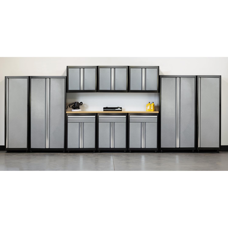 75 in. H x 210 in. W x 18 in. D Welded Steel Garage Storage System in Black/Multi-Granite (11-Piece)