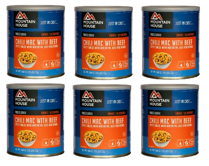 Mountain House Freeze Dried Food Chili Mac with beef-6 Cans by
