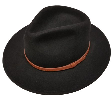 men's 100% crushable wool felt outback leather band fedora hats with gift box l/xl (Band Wool Felt Hat)