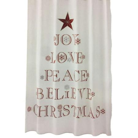 Winter Wonderland Holiday Sentiments Fabric Shower Curtain Christmas Decor (Winter Wonderland Decor)