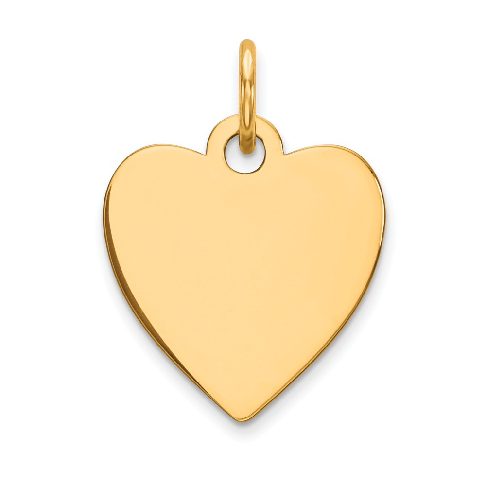 14k Yellow Gold Plain 0.027 Gauge Engravable Heart Disc Charm (0.7in long x 0.5in wide)