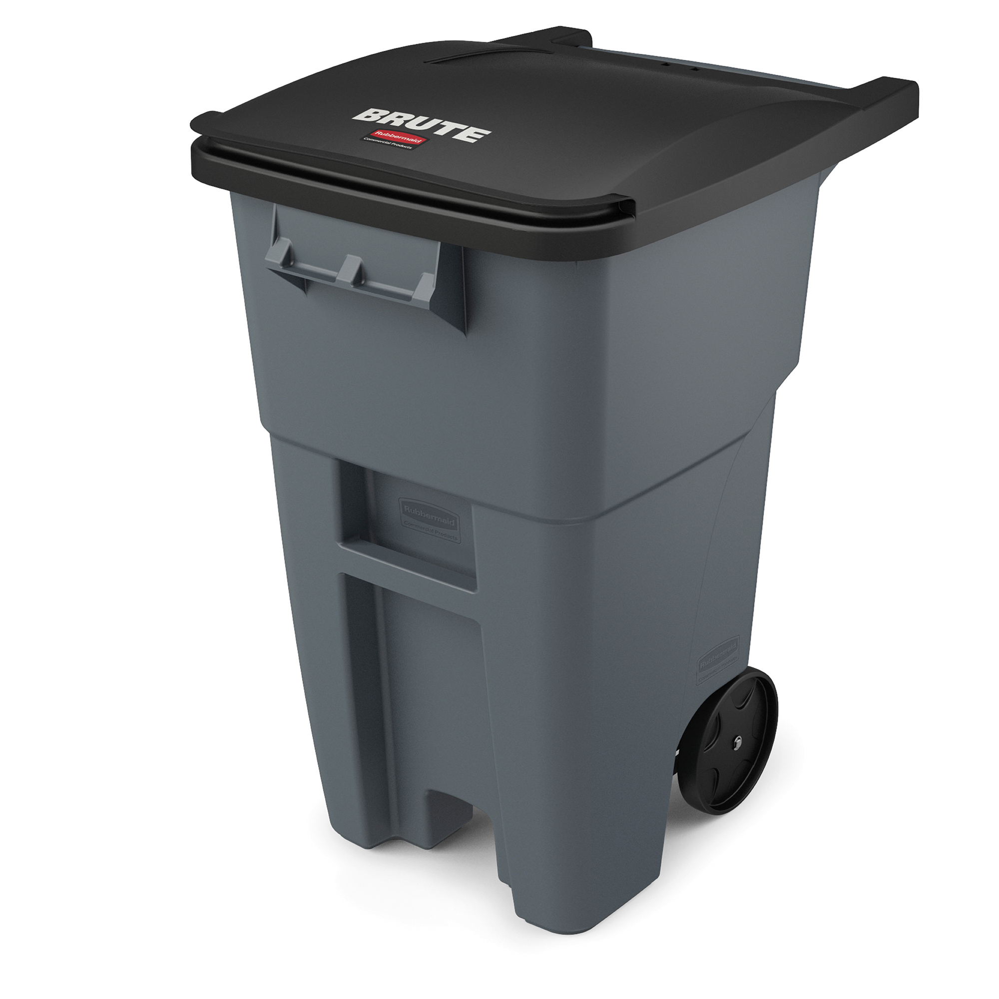 Rubbermaid Commercial Products FG9W2700GRAY BRUTE Roll-Out Trash Can with Lid, Square, 50 Gallon, Gray