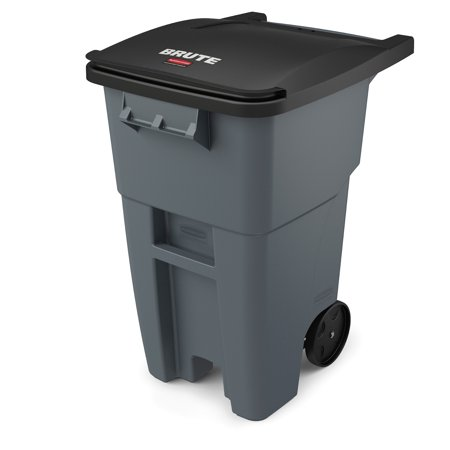Gallon Brute Round Container Lid - Rubbermaid Commercial Products BRUTE Roll-Out Trash Can with Lid, Square, 50 Gallon, Gray