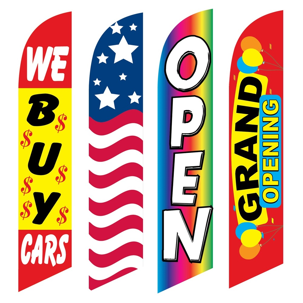 4 Advertising Swooper Flags We Buy Cars USA Open Grand Opening