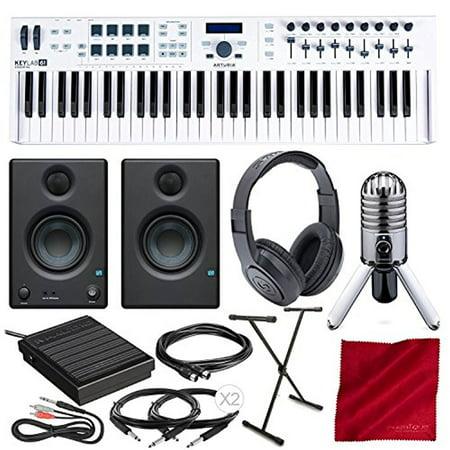 Arturia KeyLab Essential 61 Universal MIDI Controller and Software with  PreSonus Eris E3 5 Monitors, Samson Meteor Mic USB Microphone, Keyboard  Stand,